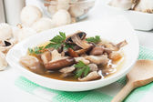 Clear mushroom soup — Stock Photo