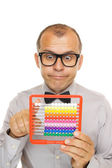 Business man with abacus calculator — Stock Photo