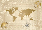 Antique World Map — Vettoriale Stock