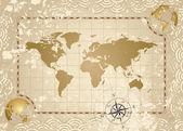 アンティーク世界地図 — ストックベクタ