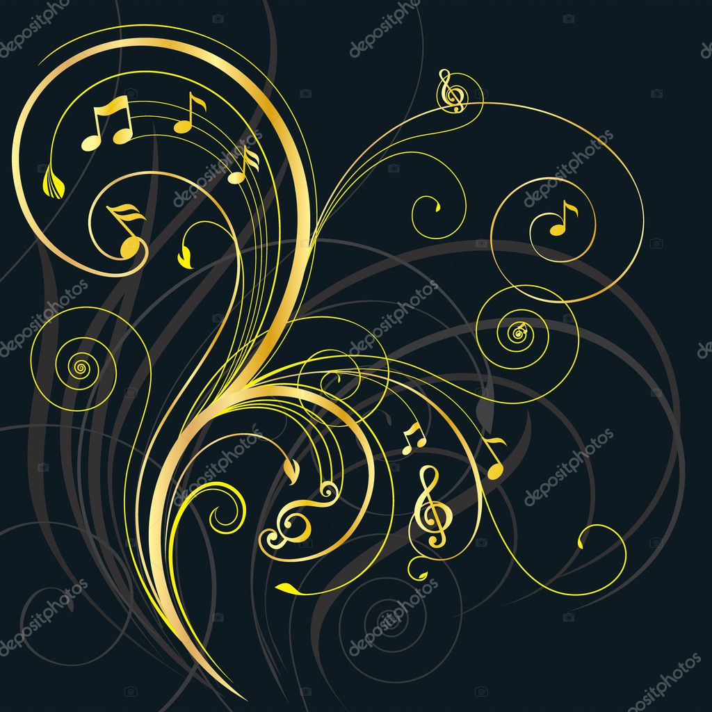Floral ornament with musical note.  Stock Vector #6282647