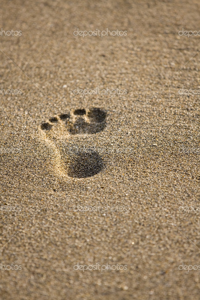 Footprints in wet sand of beach — Stock Photo #5848522
