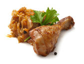 Chicken leg with bavarian stewed cabbage — Stock Photo