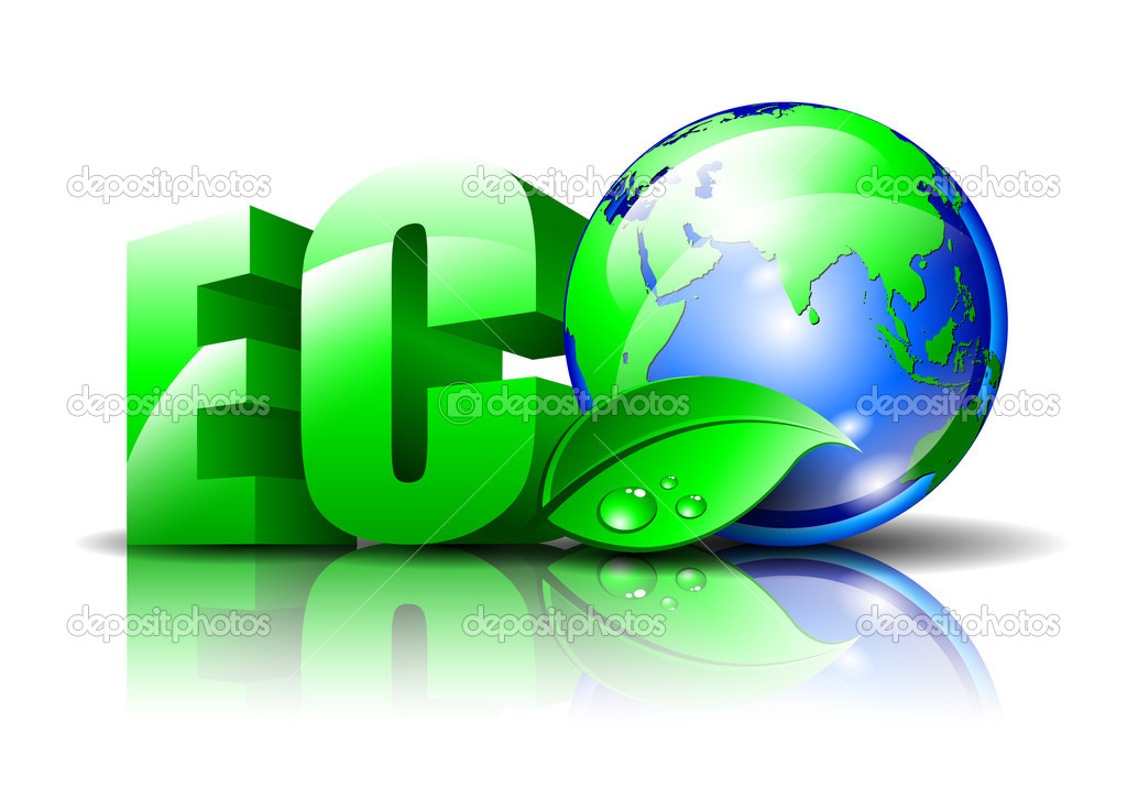 Environment logo with a globe and a green leaf — Stock Vector #5462197