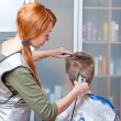 The beautiful young woman the hairdresser does a hairstyle to the client - — Stock Photo