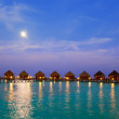 Island in ocean, Maldives. Night. - Stock Photo