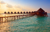 Island in ocean, overwater villas at the time sunset. — Stok fotoğraf