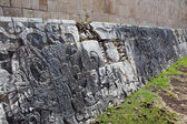 Chichen Itza . Fragment of a wall of a pyramid with an ancient ornament. — Stock Photo