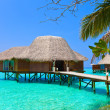 Stock Photo: Island in ocean, overwater villa.Maldives.