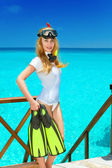 Young pretty woman with flippers, mask and tube. Maldives. — Stock Photo