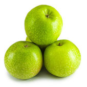 Pyramid from green apples — Stock Photo
