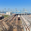 Railway sorting station - rails and trains — Stock Photo