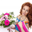 Stock Photo: Portrait of the beautiful girl with a bunch of flowers and a pink album