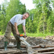 Surprised mwith chain saw in summer wood — Stockfoto #6589552