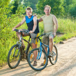 The father with the son on bicycles - Stockfoto