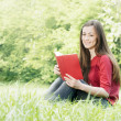 Happy student outdoors relaxed — Stock Photo #5650273