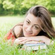 Happy student outdoors relaxed — Stock Photo #5650452