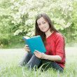 Happy student outdoors relaxed — Stock Photo #5650515