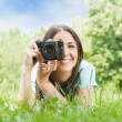 Woman taking photo - Stock Photo