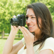 Girl photographer — Stock Photo