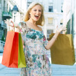 eccitato dello shopping donna — Foto Stock #5799624