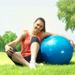 Fitness women exercising with pilates ball outdoors — Stock Photo #5919239