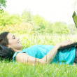 Happy student using laptop at the park — Stock Photo #6039536
