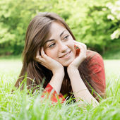 Happy girl outdoors relaxed — Stock Photo