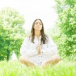 Yoga woman meditation pose — Stock Photo