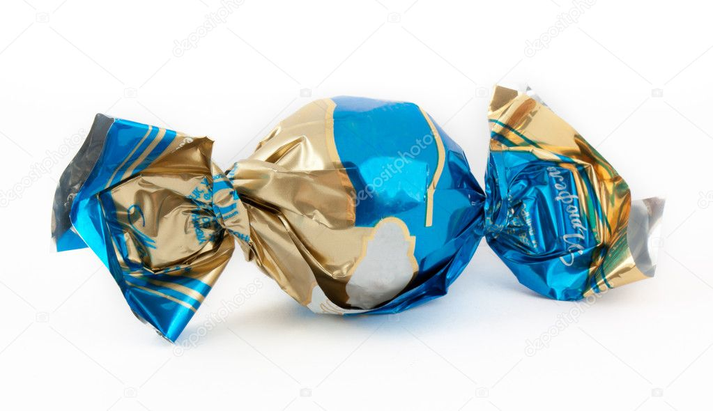 Candy in the sweet wrapper isolated on white — Stock Photo #5776148