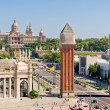 Placa Espanya in Barcelona and National Palace — Stock Photo #6181013