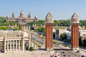 Placa Espanya in Barcelona and National Palace — Stock Photo