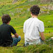 Two boys looking at a beautiful view — Stock Photo