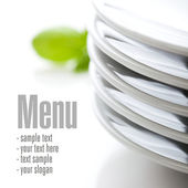 Close up on white plates — Stock Photo