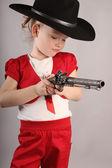Eva with gun — Stock Photo