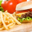 Hamburger with fries - Stock Photo