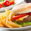 Stock Photo: Hamburger with fries