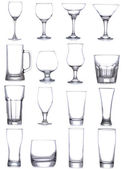 Set with different empty glasses and mugs — Stock Photo