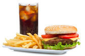 Hamburger with fries and cola — Stock Photo