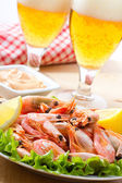 Shrimps and beer — Stock Photo