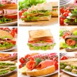 Collage with sandwiches — Stock Photo