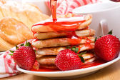 Breakfast with pancakes — Stock Photo