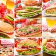 Collage of different fast food products — Stock Photo