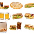 Set with fast food products — ストック写真