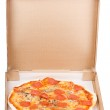 Pepperoni pizza in open paper box — Stock Photo