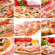 Collage with pizza - Stock Photo
