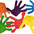Stock Photo: Paint prints of child hands