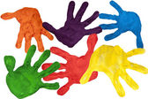 Paint prints of child hands — Stock Photo