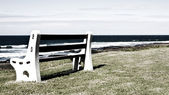 Bench on grass next to the ocean in grunge — Stock Photo