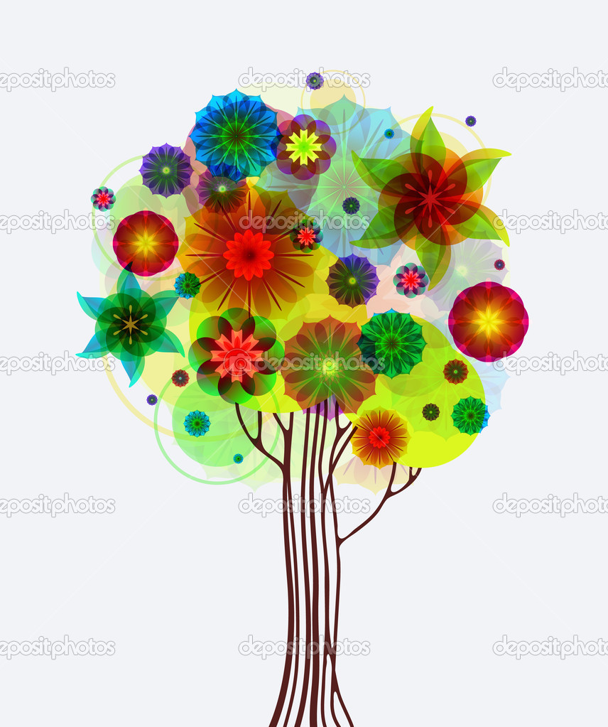 Abstract tree with nice flowers — Stock Vector #5694623